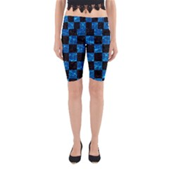 Square1 Black Marble & Deep Blue Water Yoga Cropped Leggings