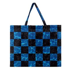 Square1 Black Marble & Deep Blue Water Zipper Large Tote Bag