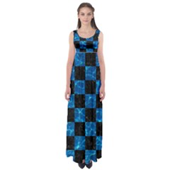 Square1 Black Marble & Deep Blue Water Empire Waist Maxi Dress