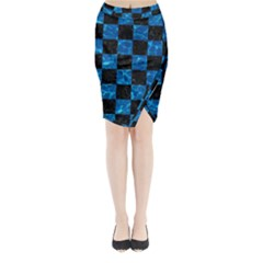 Square1 Black Marble & Deep Blue Water Midi Wrap Pencil Skirt