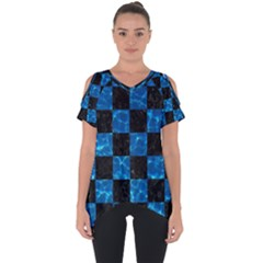 Square1 Black Marble & Deep Blue Water Cut Out Side Drop Tee