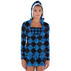 Square2 Black Marble & Deep Blue Water Long Sleeve Hooded T Shirt