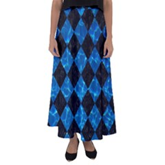 Square2 Black Marble & Deep Blue Water Flared Maxi Skirt