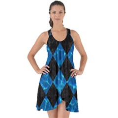 Square2 Black Marble & Deep Blue Water Show Some Back Chiffon Dress