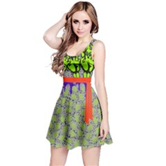 Green Faux Ribbon Halloween Outfit Reversible Sleeveless Dress