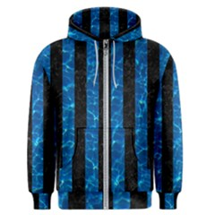 Stripes1 Black Marble & Deep Blue Water Men s Zipper Hoodie