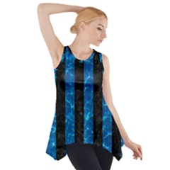 Stripes1 Black Marble & Deep Blue Water Side Drop Tank Tunic