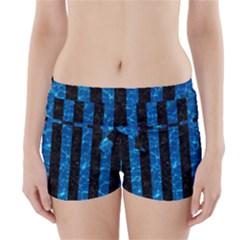 Stripes1 Black Marble & Deep Blue Water Boyleg Bikini Wrap Bottoms