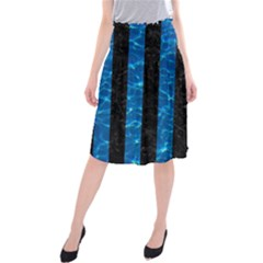 Stripes1 Black Marble & Deep Blue Water Midi Beach Skirt
