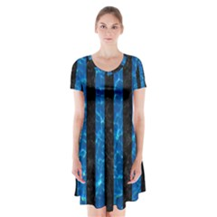Stripes1 Black Marble & Deep Blue Water Short Sleeve V Neck Flare Dress