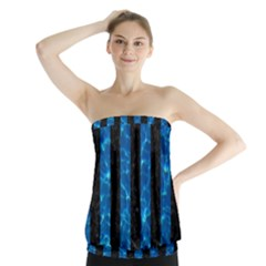 Stripes1 Black Marble & Deep Blue Water Strapless Top