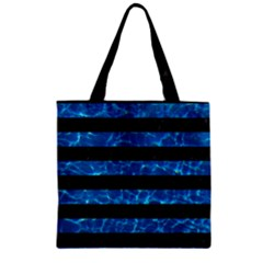 Stripes2 Black Marble & Deep Blue Water Zipper Grocery Tote Bag
