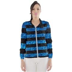 Stripes2 Black Marble & Deep Blue Water Wind Breaker (women)