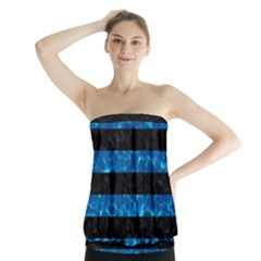 Stripes2 Black Marble & Deep Blue Water Strapless Top