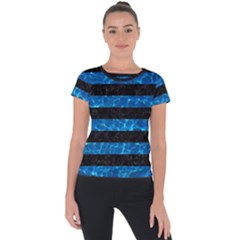 Stripes2 Black Marble & Deep Blue Water Short Sleeve Sports Top