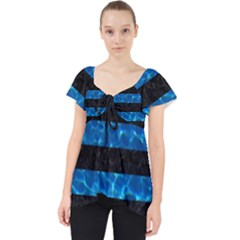 Stripes2 Black Marble & Deep Blue Water Lace Front Dolly Top