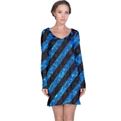 Stripes3 Black Marble & Deep Blue Water Long Sleeve Nightdress