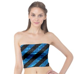 Stripes3 Black Marble & Deep Blue Water Tube Top