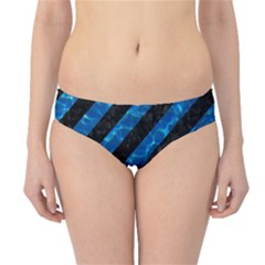 Stripes3 Black Marble & Deep Blue Water Hipster Bikini Bottoms
