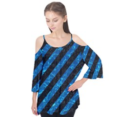 Stripes3 Black Marble & Deep Blue Water Flutter Tees