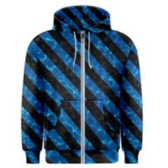 Stripes3 Black Marble & Deep Blue Water (r) Men s Zipper Hoodie