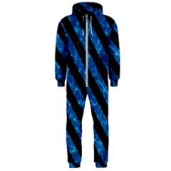 Stripes3 Black Marble & Deep Blue Water (r) Hooded Jumpsuit (men)