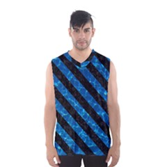 Stripes3 Black Marble & Deep Blue Water (r) Men s Basketball Tank Top