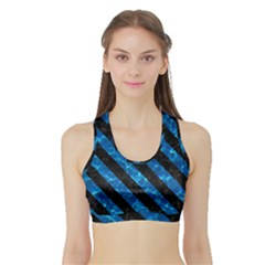 Stripes3 Black Marble & Deep Blue Water (r) Sports Bra With Border