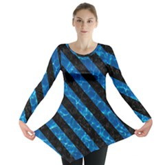 Stripes3 Black Marble & Deep Blue Water (r) Long Sleeve Tunic