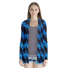 Stripes3 Black Marble & Deep Blue Water (r) Drape Collar Cardigan