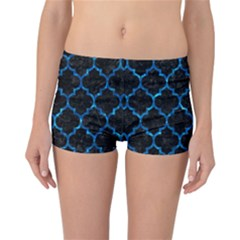 Tile1 Black Marble & Deep Blue Water Reversible Boyleg Bikini Bottoms
