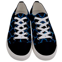 Tile1 Black Marble & Deep Blue Water Women s Low Top Canvas Sneakers
