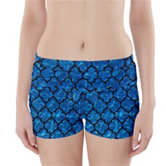 Tile1 Black Marble & Deep Blue Water (r) Boyleg Bikini Wrap Bottoms