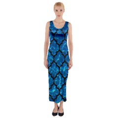 Tile1 Black Marble & Deep Blue Water (r) Fitted Maxi Dress