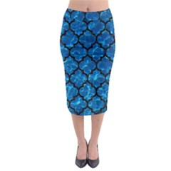 Tile1 Black Marble & Deep Blue Water (r) Midi Pencil Skirt