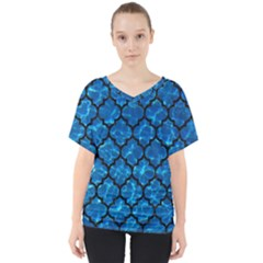 Tile1 Black Marble & Deep Blue Water (r) V Neck Dolman Drape Top