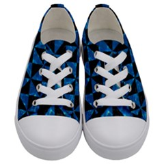 Triangle1 Black Marble & Deep Blue Water Kids  Low Top Canvas Sneakers