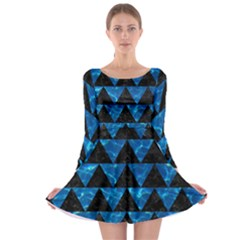 Triangle2 Black Marble & Deep Blue Water Long Sleeve Skater Dress