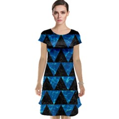 Triangle2 Black Marble & Deep Blue Water Cap Sleeve Nightdress