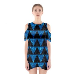 Triangle2 Black Marble & Deep Blue Water Shoulder Cutout One Piece