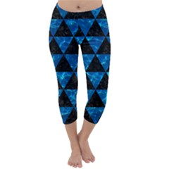 Triangle3 Black Marble & Deep Blue Water Capri Winter Leggings
