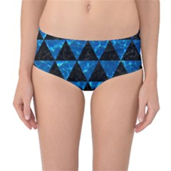 Triangle3 Black Marble & Deep Blue Water Mid Waist Bikini Bottoms