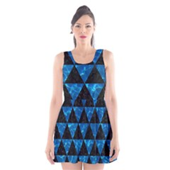Triangle3 Black Marble & Deep Blue Water Scoop Neck Skater Dress