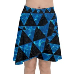 Triangle3 Black Marble & Deep Blue Water Chiffon Wrap