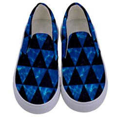 Triangle3 Black Marble & Deep Blue Water Kids  Canvas Slip Ons
