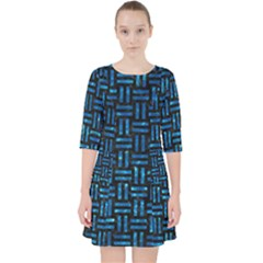 Woven1 Black Marble & Deep Blue Water Pocket Dress