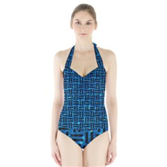 Woven1 Black Marble & Deep Blue Water (r) Halter Swimsuit