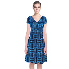 Woven1 Black Marble & Deep Blue Water (r) Short Sleeve Front Wrap Dress