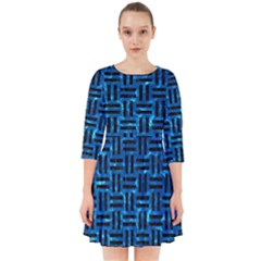 Woven1 Black Marble & Deep Blue Water (r) Smock Dress