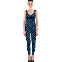 Woven2 Black Marble & Deep Blue Water Onepiece Catsuit